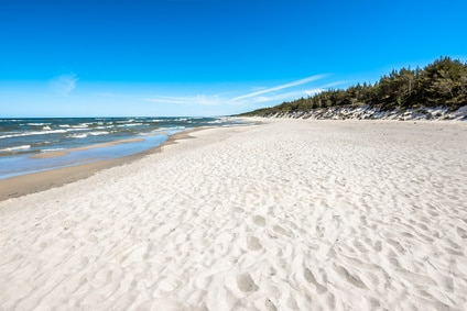 Sand beach in the summer, landscape, tourist travel background